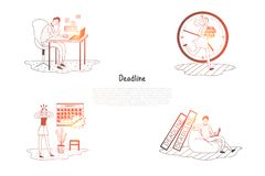 Deadline - frustrated and stressed people thinking about work deadline vector concept set. Hand drawn sketch isolated illustration vector illustration