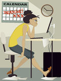 Deadline. Frustrated woman working on her computer at home, a calendar with the world deadline on the wall behind her,vector illustration Royalty Free Stock Image