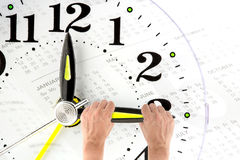 Deadline. hand trying to stop time. Time Management. Stock Photography