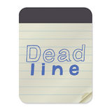 Deadline lettering on Notebook Template. Deadline - hand drawn lettering on Notebook Template. Vector illustration quote. Handwritten inscription phrase for Royalty Free Stock Photography