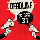 Deadline - October 31, vector illustration. Megaphone Hand business concept with text Deadline - October 31, vector illustration Stock Photo