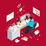 Deadline Office Isometric Composition Royalty Free Stock Image