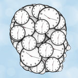 Deadline Pressure Concept. Modern Clocks Shaped as a Human Head. Stock Image