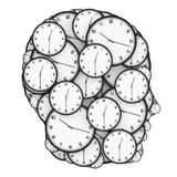 Deadline Pressure Concept. Modern Clocks Shaped as a Human Head. Royalty Free Stock Photos