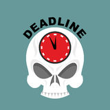 Deadline. Skull with a clock. Not enough time. Vector illustrati Stock Images