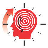 Deadline stress concept. Male head silhouette with labyrinth and watch symbolizing Deadline and Stress. Vector illustration Royalty Free Stock Image