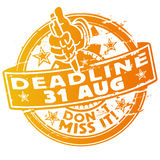 Deadline 31th August. Rubber stamp with the deadline 31th August Royalty Free Stock Photo