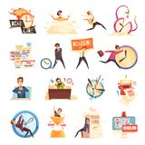 Deadline Time-Limit Icons Set. Workload deadline disasters project managers work related stress and burnout symbols cartoon icons collection isolated vector Royalty Free Stock Photo