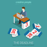 Deadline time management project plan schedule flat 3d isometric Royalty Free Stock Photos