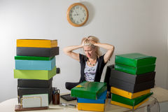 Woman stressed at work Royalty Free Stock Image