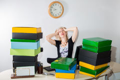 Woman Stressed: Deadline Today Stock Image