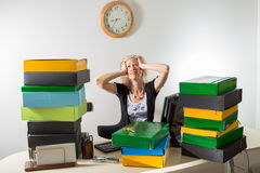 Woman Stressed: Deadline Today Royalty Free Stock Photo