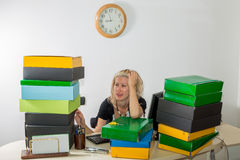Woman Stressed: Deadline Today Royalty Free Stock Photos