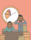 Deadline. Two scared businessman holding their heads at the office and clock behind. Deadline concept. Vector line design illustration. Vertical layout with a Stock Photography