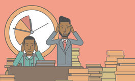 Deadline. Two scared businessman holding their heads at the office and clock behind. Deadline concept. Vector line design illustration. Horizontal layout with a Stock Photo