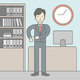 Deadline. A very angry boss standing in office and pointing at wrist watch. Deadline concept. Vector line design illustration. Square layout Stock Photography