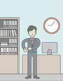 Deadline. A very angry boss standing in office and pointing at wrist watch. Deadline concept. Vector line design illustration. Vertical layout with a text space Royalty Free Stock Photos