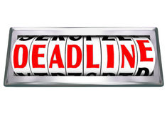 Deadline Word Clock Odometer Countdown Final Moments Due Stock Photography