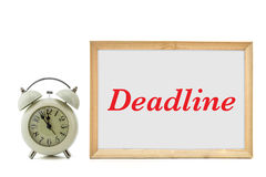 Deadline word written and clock Royalty Free Stock Photography