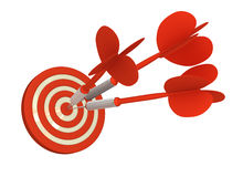 Deadly accurate Arrows. 3 red arrows lands exactly on bulls eye 3D rendered (isolated on White Bac Royalty Free Stock Photography