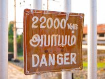 Deadly danger of electrocution on a sign in India.  Stock Photos