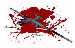 Deadly Dron in Blood. Killer Drone in Blood Isolated on White. Deadly Military Drones Operation Concept Illustration Stock Photos