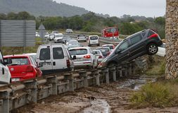 Deadly floods in San Llorenc and Arta in the island Mallorca wide stock image