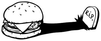 Deadly Hamburger. Hamburger sandwich gravestone shadow cartoon line drawing, horizontal, vector illustration, isolated Stock Photography