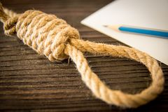 The deadly loop of rope. Last seconds of life. Unrequited love. royalty free stock photo