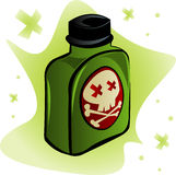 Deadly Poison. Bottle of poisonous substance with crossbones indicating death on the label Stock Photography