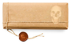 Deadly postal parcel on white background Royalty Free Stock Images