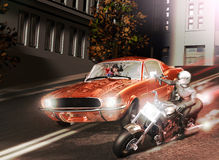 Deadly pursuit. In a street, a ford mustang car, running fast, is caught up by a motorcyclist on a powerful motorcycle. The motorcyclist armed with an uzi gun Royalty Free Stock Images