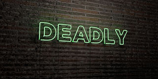 DEADLY -Realistic Neon Sign on Brick Wall background - 3D rendered royalty free stock image. Can be used for online banner ads and direct mailers Stock Photography