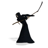 Deadly reaper. 3D rendering of the deadly reaper with clipping path and shadow over white Stock Image