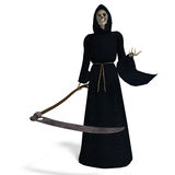Deadly reaper. 3D rendering of the deadly reaper with clipping path and shadow over white Royalty Free Stock Images