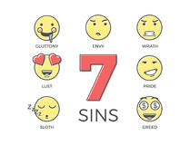 7 deadly sins represented by seven emoticon character expressions. Vector thin line icon illustrations. Colorful outline effect. Wrong negative behaviours Royalty Free Stock Photography