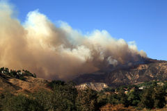 Deadly Smoke from Wildfires. CA wildfire, October 13, 2008 - the rapidly spreading fire near Los Angeles Royalty Free Stock Photography