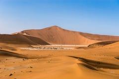 Deadvlei и большая дюна папы в Sossusvlei, Намибии Стоковое Фото