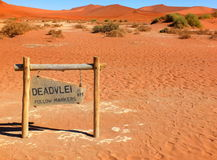 Deadvlei, Namibia. Entrance to Sossusvlei dead valley in the Namib Desert, Namibia Stock Photos