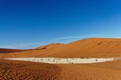 Deadvlei Namibia viewed from the top of a dune stock photography