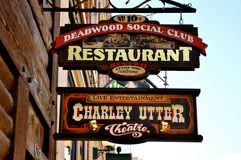 Deadwood social club sign Stock Photos