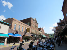 Deadwood South Dakota historic downtown during Sturgis week stock image