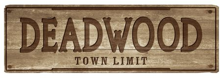 Deadwood South Dakota Town Limit Sign. Deadwood Town Limit Sign South Dakota Wood Vintage Hand Carved Western City Historic royalty free stock photos