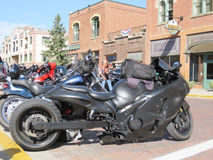 Deadwood South Dakota, unusual, possibly custom made motorcycle Royalty Free Stock Photos