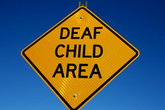 Deaf child area sign Stock Photo