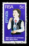 Deaf girl learning to speak, Institutes for Deaf and Blind serie, circa 1981. MOSCOW, RUSSIA - OCTOBER 1, 2017: A stamp printed in South Africa shows Deaf girl stock image