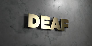 Deaf - Gold sign mounted on glossy marble wall  - 3D rendered royalty free stock illustration Royalty Free Stock Images