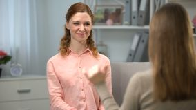 Deaf lady saying I like you, friend signing me too, sign language dialogue. Stock footage stock footage