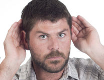 Deaf man with cochlear implant Royalty Free Stock Images