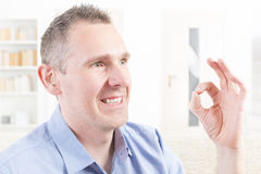 Deaf man using sign language Royalty Free Stock Photography